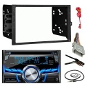 Clarion CX505 Double Din Bluetooth CD MP3 Car Stereo Receiver Bundle Combo With Metra installation kit for car stereo (Fits Most GM Vehicles) + Wire Harness + Enrock 22 Radio Antenna With Adapter